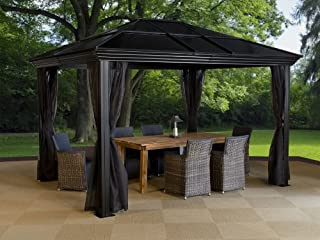 Sojag Ellington Hard Top Sun Shelter, 10' by 12', Charcoal