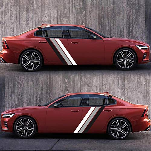 juman634 Auto-Aufkleber und Abziehbilder-Fahrzeugkörper-Vinylaufkleber, dreifarbige Linie, die Streifen-Nadelstreifen-Aufkleber-Aufkleber-Auto-Dekoration läuft
