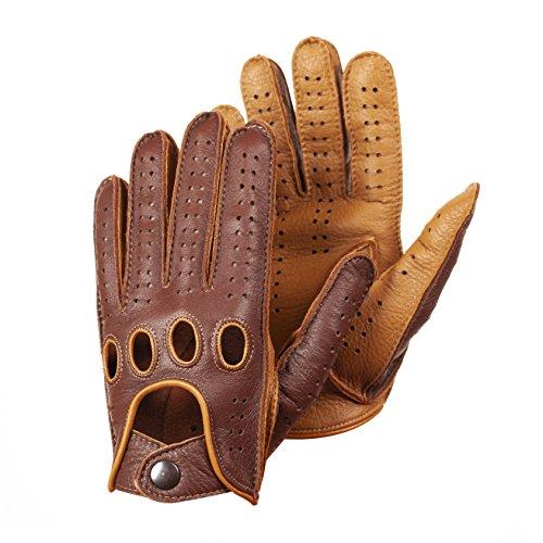 Hungant Herren Autofahrer Handschuhe Lederhandschuhe Farbe Cognac Tan (8.5, Cognac)