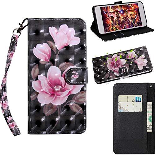 ZTE Blade L5 Hülle,3D Muster Handschlaufe Brieftasche Case Schutzhülle Tasche Magnet Handytasche PU Leder Handyhülle mit Karteneinschub Fall Ständer Cover für ZTE Blade L5/ L5 Plus (Blume)