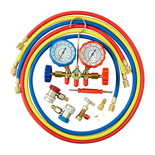Orion Motor Tech 3-Way AC Diagnostic Manifold Gauge Set for Freon Charging, Fits R134A R12 R22 and R502 Refrigerants, with Adjustable Couplers and Can Tap for Automotive Car Air Conditioning