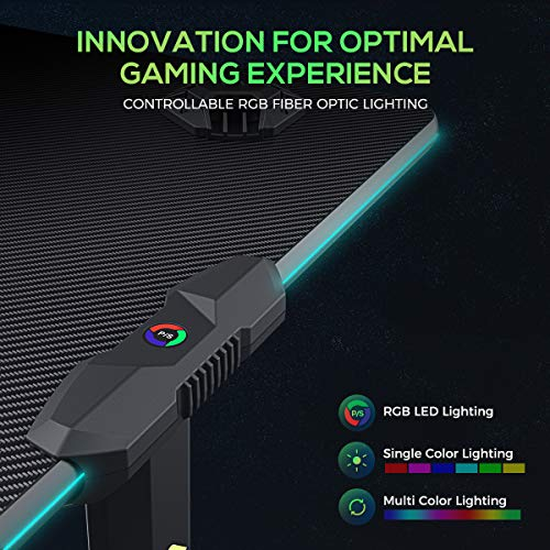 EUREKA ERGONOMIC Gaming-Computer-Schreibtisch – Colonel Serie, Home Office, Gaming-PC-Tisch, neues Polygon-Bein-Design, mit RGB-LED-Lichtern, 111,8 cm und 139,7 cm, Schwarz 2