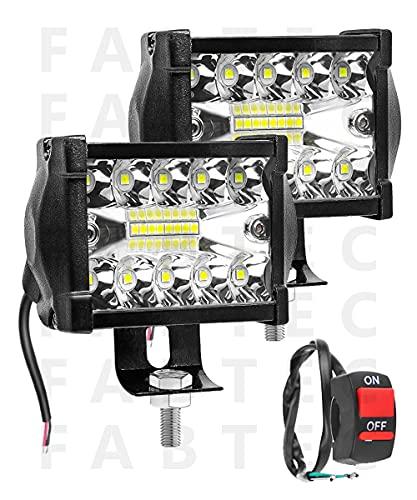FABTEC Bike LED Focus Beam Fog Light And Flood Light Off-Roading for All Bikes Bar light (18 LED 4 INCH)