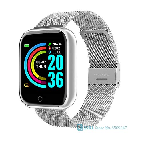 Moda de acero inoxidable reloj inteligente mujeres hombres electrónica deporte reloj de pulsera para Android IOS cuadrado reloj inteligente reloj de horas