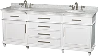 Wyndham Collection Berkeley 80 inch Double Bathroom Vanity in White with White Carrara Marble Top with White Undermount Oval Sinks and No Mirror - coolthings.us