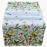 Raebel Runner da tavolo, 40 x 140 cm, tovaglia centrotavola pasquale decorazione da tavolo primaverile bianco fiori e farfalle