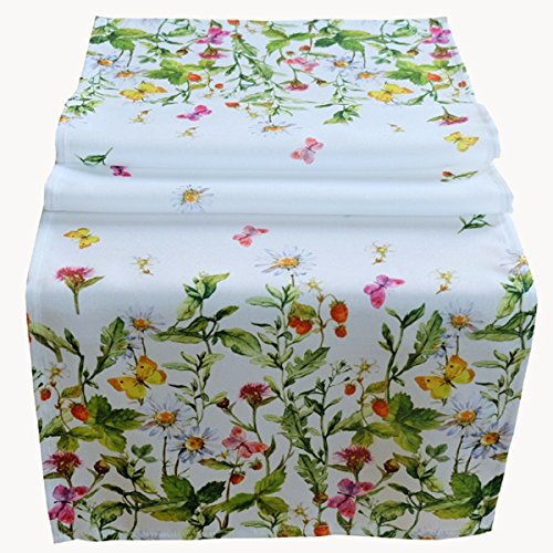 Raebel Tischläufer 40 x 140 cm Tischdecke Mitteldecke Ostern Tischdeko Frühling weiß bunt Blumen und Schmetterlinge
