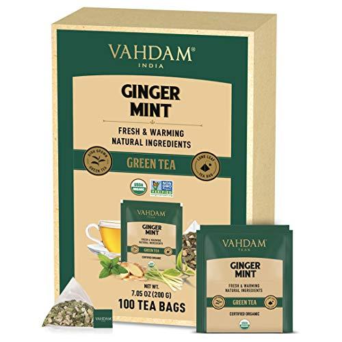 VAHDAM, ORGANIC Ginger Mint Green Tea (100 Tea Bags) | Detox Tea for Weight Loss & Belly Fat | Ginger Tea - Energy Booster | Mint Tea Bags