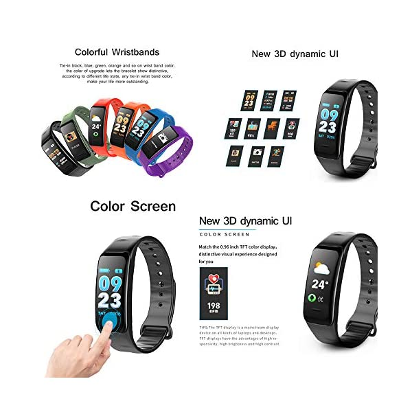 Pulsera inteligente con pantalla a color, monitor de frecuencia cardíaca impermeable, Fitness Tracker Bluetooth, reloj… 4