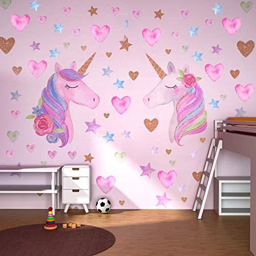 Beanlieve Deux autocollants muraux de licorne - autocollant de licorne détachable avec des coeur et d'étoile & avec le film réfléchissant, destiné aux soirée d'anniversaire & chambres pour enfats
