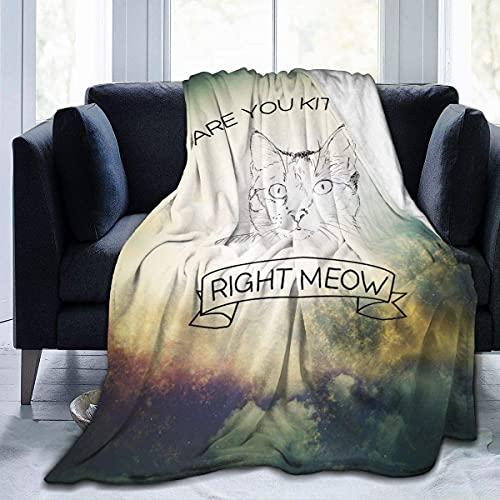 Coperta ultra morbida in flanella con scritta in inglese 'are You Kitten Me Right', per tutte le stagioni, leggera, per soggiorno, camera da letto, divano, 200 x 150 cm, per adolescenti