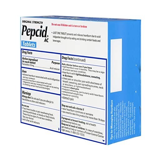 Pepcid AC Original Strength All-Day with 10 mg Famotidine for Heartburn Prevention & Relief, 30 ct.