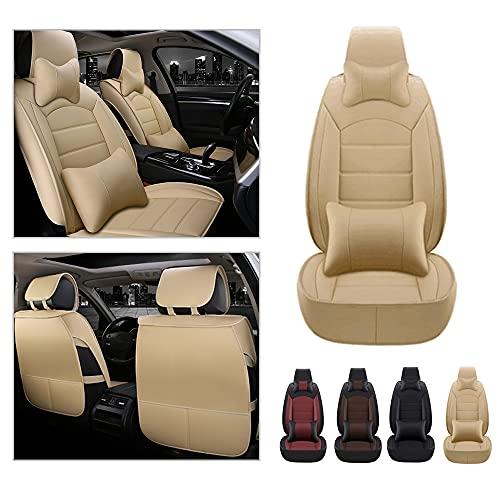 Maidao Fundas de asiento de coche personalizadas para Seat Leon 2009-2018 Protector de asiento delantero, cuero artificial, impermeable, compatible con airbag 2 asientos cojín con almohada beige