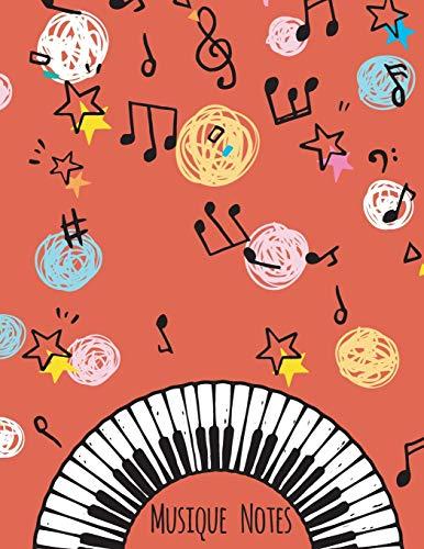 Musique Notes: Carnet de partitions vierge couleur Rouge vif - papier manuscrit - 11 portées par page - pas de clef - 120 pages - grande format (21,59 ... cm) (8,5 x 11 po) - Couverture moderne souple