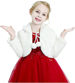 Kids Girls Faux Fur Bolero Jacket Princess Ivory Shrug Bridesmaid Long Sleeve Cardigan for Wedding Party Dress 1-12Y
