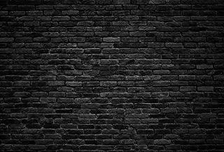 Laeacco Dark Gray Brick Wall Background Photography Backdrops for Studio 7x5ft Vinyl Studio Backdrop Customized Backdrop Black Brick Wall Stone Texture Retro Block Concrete Vintage Wallpaper
