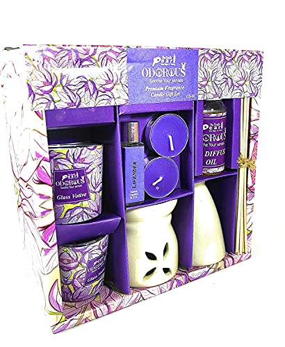 Zenza Premium Lavender Diffuser Set 2 Glass Scented Candles, 2 Tealight Candles, 1 Aroma Oil (10ml), 1 Reed Diffuser Ceramic Vase & 1 Reed Diffuser Oil (15ml), Ceramic Burner and Few Sticks.