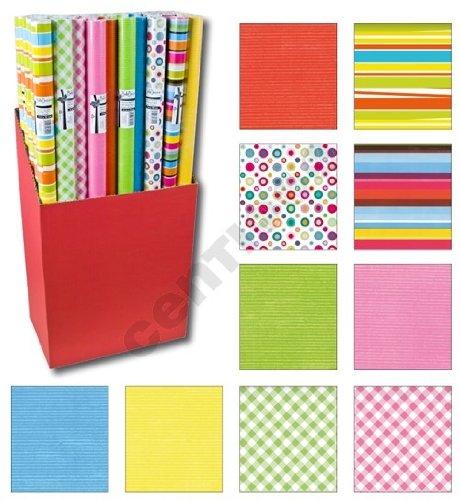 Handelsagentur Gahlstorf 10er Rollen Set Streifen Punkte Kreise einfarbig Wellen gemustertes buntes Geschenkpapier 200 x 70 cm verschiedene Designs
