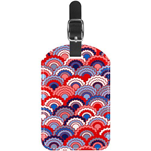 Etiquetas de equipaje abstractas coloridas vintage con patrón de balanzas de cuero para maleta de viaje, 1 paquete