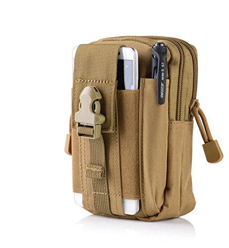 MAETEK Outdoor Tactical Holster Military Molle EDC Hip Waist Belt Bag 5.5/6 inch Nylon Zipper Pouch Purse Phone Case for iPhone 7 6S Plus Galaxy S7 S6 Edge LG HTC Moto Zenfone and More-Khaki