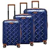 STRATIC Leather & More Koffer-Set 3-teilig Hartschalen-Koffer Trolley Rollkoffer Reisekoffer 4 Rollen TSA-Zahlenschloss (S,M,L) Blue