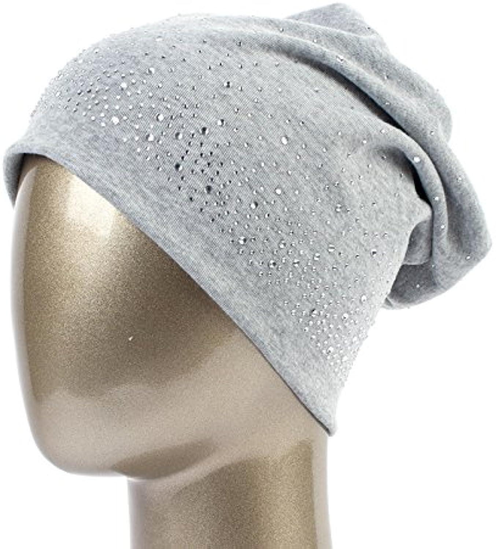 QETUOAD Women's Winter Slouchy Diamond Beanies & Skullies Ladies Cotton Beanie Hat with Rhinestones Casual Thick Outdoor Ski Caps