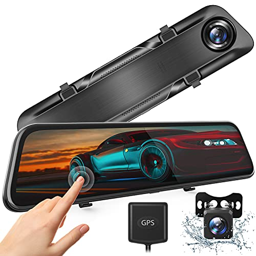 """H612T 12"""" 4K Mirror Dash Cam for Cars, Voice Control Full Touch Screen Rear View Mirror Camera, GPS Tracking, Waterproof Backup Camera 2.5K Max, 8MP Sony Sensor for Super Night Vision"""