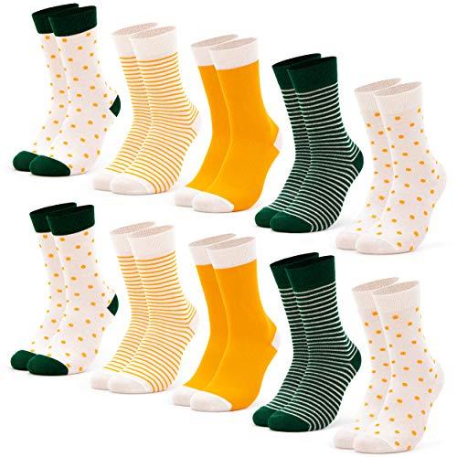 Occulto 10 Paar Damen Socken mehrfarbig mit Streifen, Punkte, Herzen und Weihnachts-Motiven | Süße Baumwoll Damensocken in verschiedenen Mustern für Winter und Sommer (35-38, Orange-Grün)