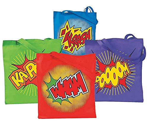 Superhero Large Totes Fabric Bags - Bulk Party Pack of 12-4 Colors