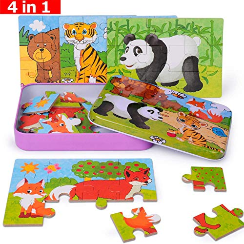 Rompecabezas 4 en 1 para niños Rompecabezas de 56 Piezas Mejor Regalo para 3 4 5 años Rompecabezas de Panda Zorro Oso Tigre y niños para niños pequeños con Caja de Rompecabezas de Metal (Bosque)