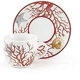 Excelsa Coral - Juego de 6 tazas de café con plato, porcelana, multicolor
