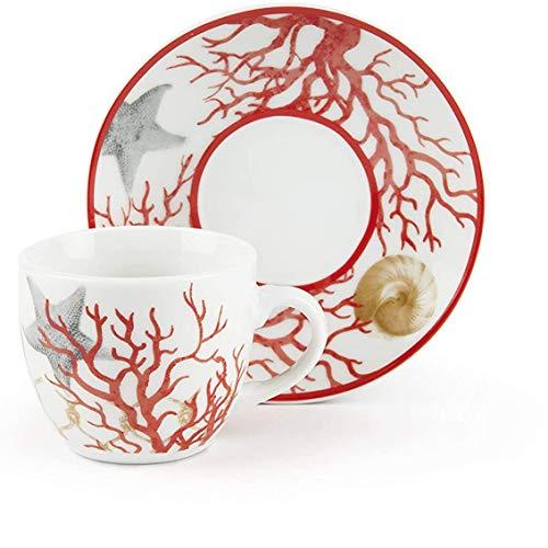 Excelsa Coral - Juego de 6 tazas de café con platillo, porcelana, multicolor