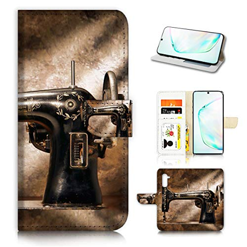 for Samsung Galaxy Note 10, Designed Flip Wallet Phone Case Cover, A40136 Sewing Machine