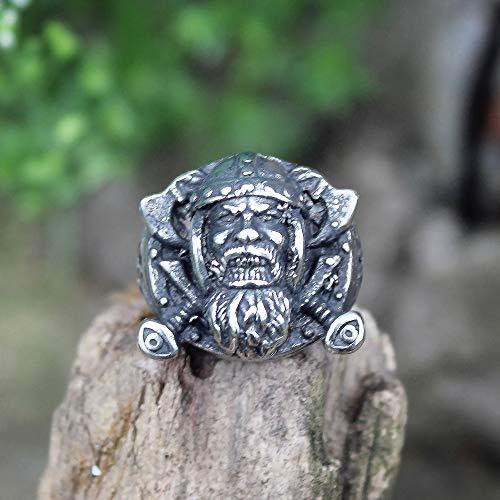 DSBN Retro Herren Silber Farbe Wikinger Edelstahl Biker Ring Vintage Celtics Axt Krieger Berserker Symbol Nordischer Schmuck 12