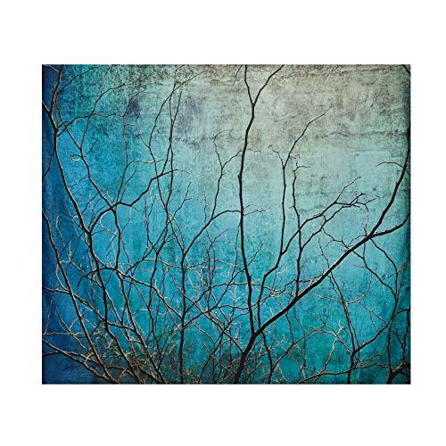 Tapiz de paisajes naturales, tapiz de arte abstracto, tapiz de ramas secas, tapices para la decoración de la sala de estar, dormitorio y dormitorio (130 x 150 cm, azul)