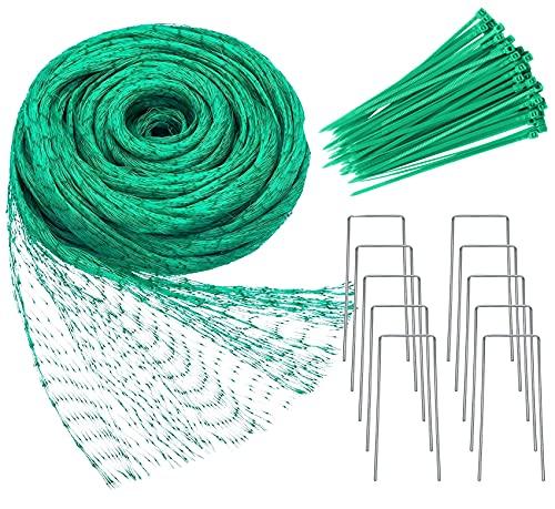 YHmall 2M x 15M Vogelnetz Vogelschutznetz Engmaschig Stabil mit 50 Kabelbinder und 10 U-förmigen Stiften für Pflanzennetz Teichnetz Gartennetz Schutznetz Taubennetz (Grün, Maschenweite 15 * 15mm)