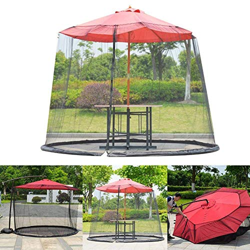 YONG 10-11ft Umbrella Mosquito Patio Table Screen, Mosquito's Netting, Umbrella Table Mesh Screen for Outdoor Courtyard, Diameter 3.35m, Polyester Light Weight Mosquito Netting