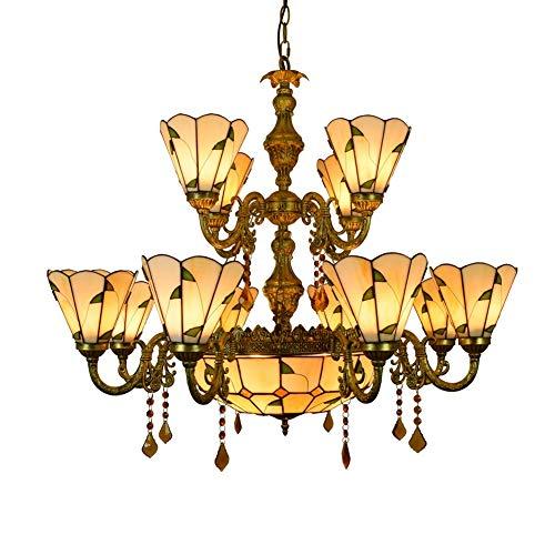 Araña de estilo vintage 12 Jefes de la lámpara de Tiffany grande caliente de la lámpara de cristal de estilo hojas verdes de cristal de la lámpara pendiente for Vestíbulo Sala de estar Restaur