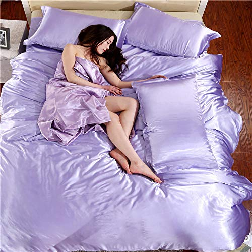 geek cook Bedding Set,Four-piece satin ice silk silk silk quilt cover sheet single double bed-lilac_1.5 bed quilt cover 200 * 230