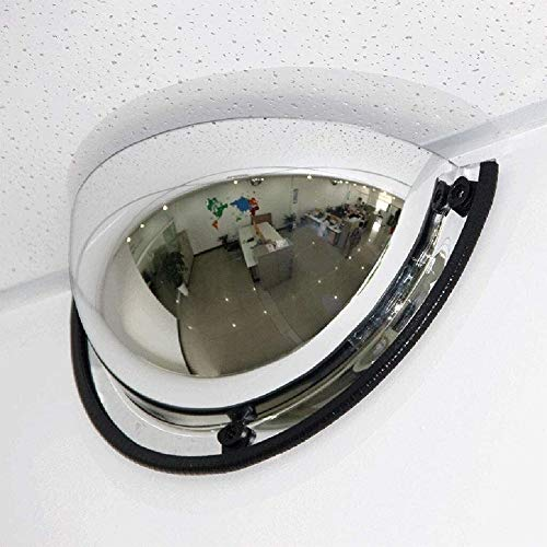 Espejo Convexo Espejos de seguridad El tráfico exterior gran angular, Tráfico espejo panorámico media bóveda del espejo convexo, de 180 grados Ángulo de visión, 1/4 esférico Espejo, espejo de segurida