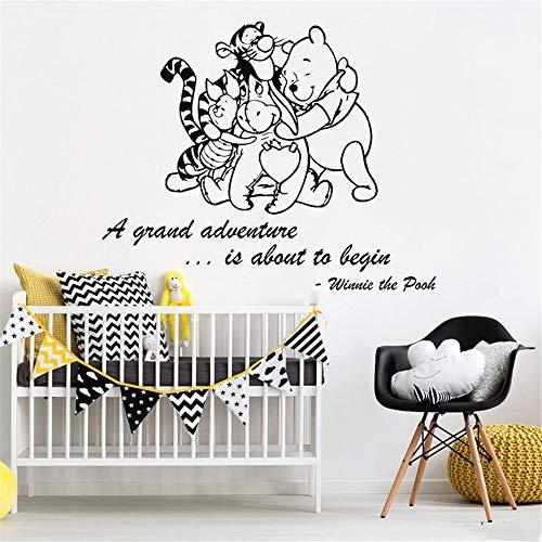 Stickers Mural Autocollant Winnie L'Ourson Avec Des Amis Pour La Chambre Des Enfants Animaux Citation Bébé Chambre Chambre D'Enfant Décor À La Maison