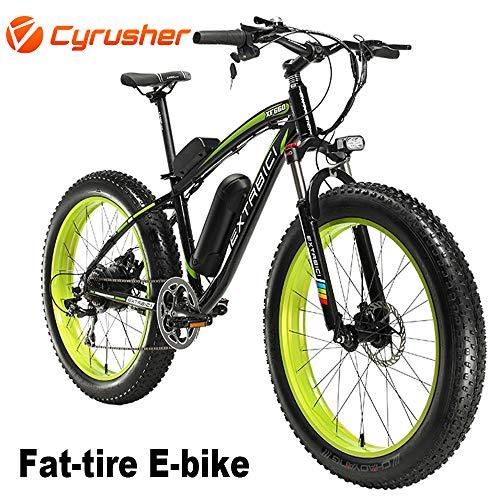Cyrusher Extrbici XF660 48V 500 Watt Bicicletta Nero Verde Bicicletta Moto Bicicletta Bicicletta 7 velocità Freni Disco Elettrico Biciclette