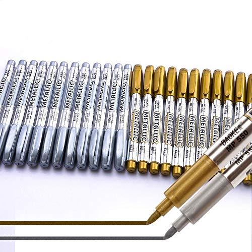 Rotulador De Metal de oro y plata, 12 piezas Marcador permanente, para...