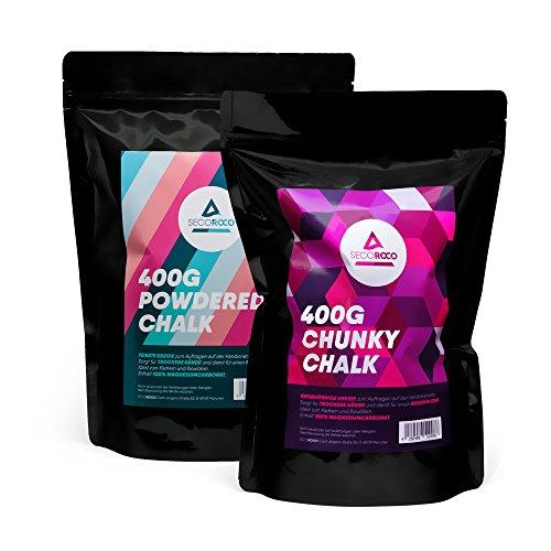 Secoroco Chalk Vorteilspack. Chalk Powder 400g & Chalk grobkörnig 400g. Magnesiumcarbonat zum Klettern, Bouldern & Kraftsport