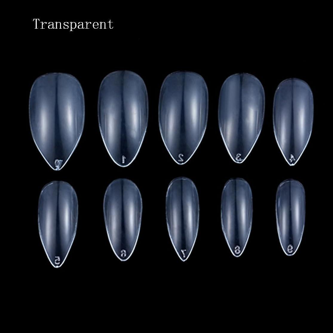 お金確立しますナインへHonel つけ爪 無地 ショート ネイルチップ クリア ネイルチップ 短い 100枚入れ 10サイズ 爪にピッタリ 尖った爪 付け爪 ケース付き 透明 シャープ ポイント(ハロウィン コスプレも対応できます)