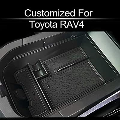 MECHCOS Compatible with fit for 2019 2020 Toyota RAV4 Center Console Organizer Armrest Secondary Storage Box Holder Container Divider Glove Pallet Tray