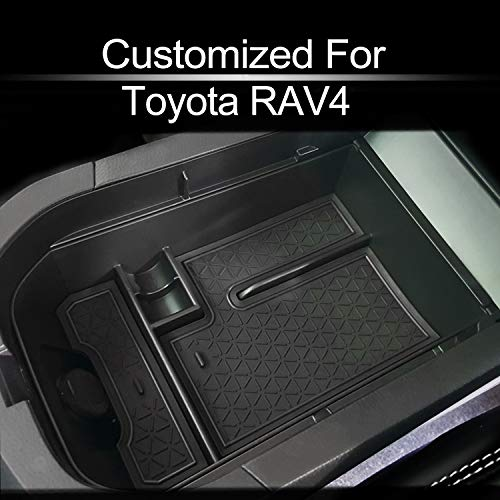 MECHCOS Compatible with fit for 2019 2020 Toyota RAV4 2021 RAV4 Prime Center Console Organizer Armrest Secondary Storage Box Holder Container Divider Glove Pallet Tray