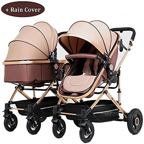 Cochecito portátil y liviano del cochecito portátil y liviano para bebés y niños pequeños, liviano y fácil cochecito de bebé plegable con un lado a lado, asientos gemelos, arnés de seguridad de 5 punt