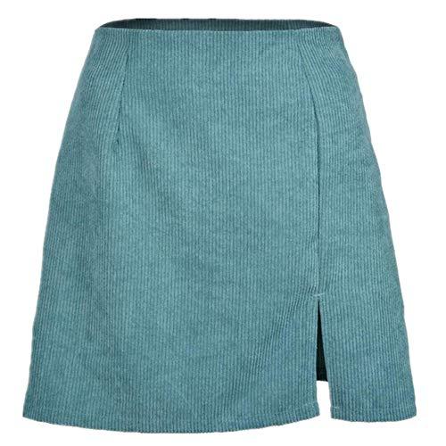 Red de cintura alta ropa de mujer pana media longitud falda de color puro ventilación una falda corta niña