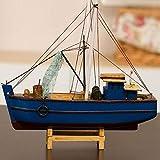 Modelo de barco de vela Estilo mediterráneo Modelo de vela de madera Barco de pesca Artesanía en miniatura Decoración moderna de la habitación náutica para el hogar Regalos para niños Recuerdos
